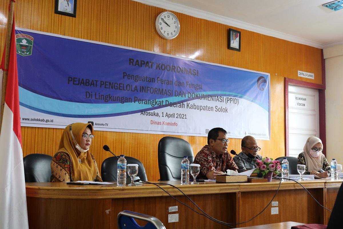 Wujudkan Pemda Kab. Solok yang Informatif, Diskominfo Laksanakan Rakor PPID-P se-Kabupaten Solok